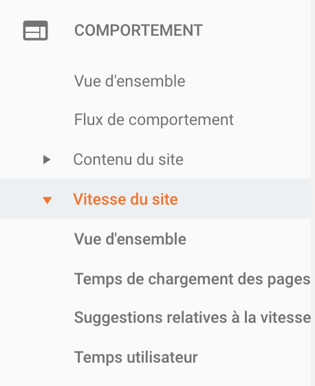 Comportement - vitesse de site