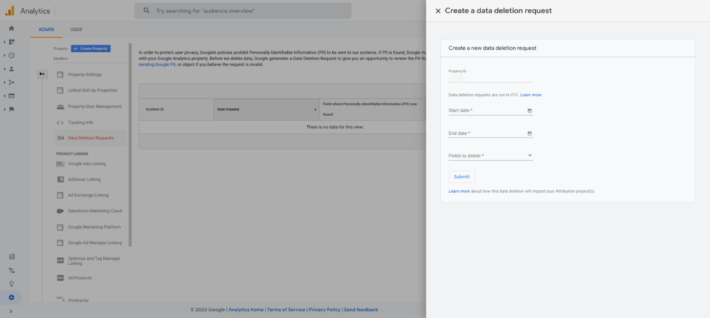 Creating a data deletion request within Google Analytics 4. Image: Google.